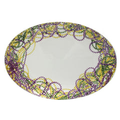 "16"" Mardi Gras beads large oval platter"