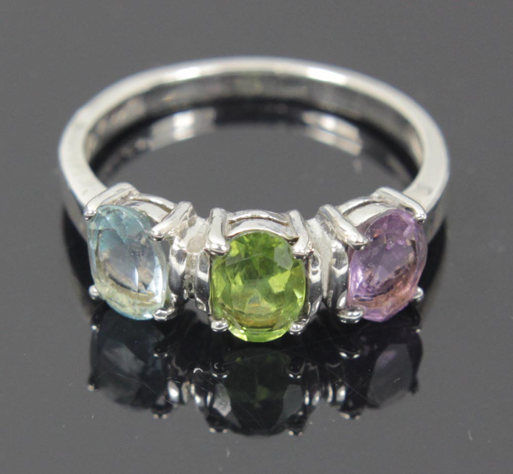 Sterling Silver Aquamarine Peridot Amethyst CZ's Ring Size 9