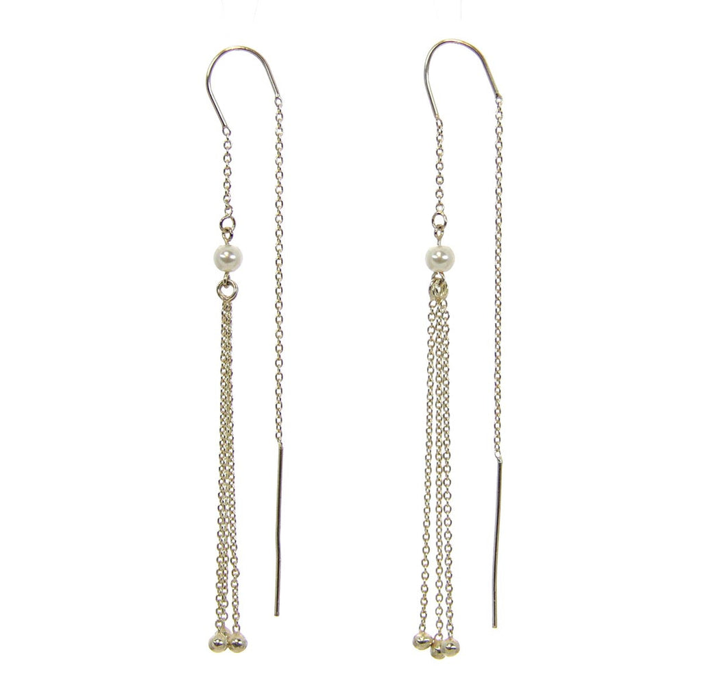 Sterling Silver Earrings Threader w/Pearl