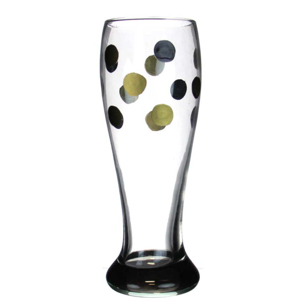 Beer Glass Black & Gold Dots