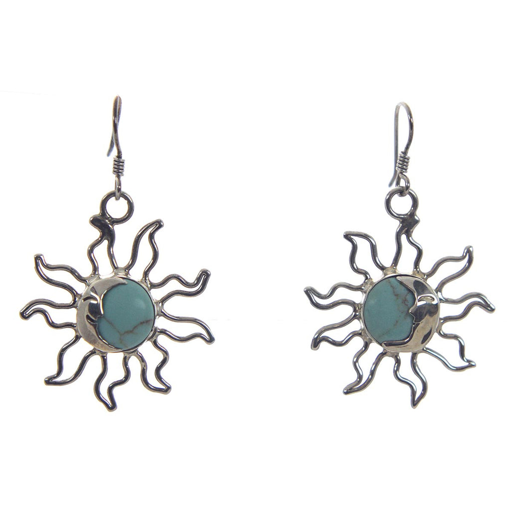 Sterling Silver Sun & Moon Earrings
