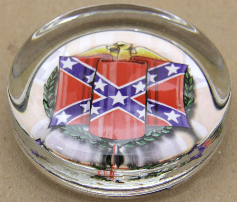 Glass Paper weight Confederate Flag