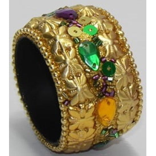 Mardi Gras Napkin Ring, Beaded Gold
