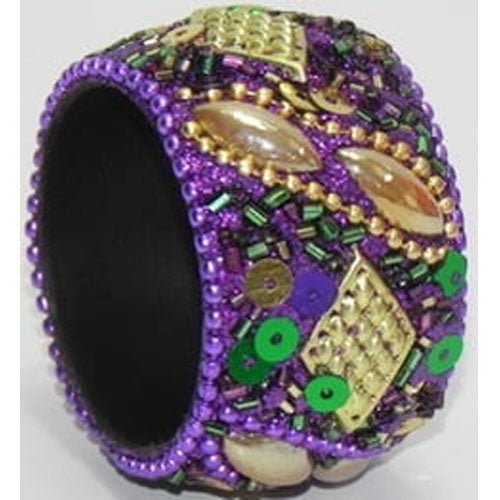 Mardi Gras Napkin Ring, Beaded Purple