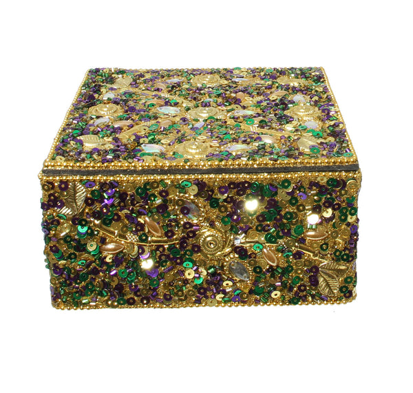 "Gold Leaf Burst Box, Mardi Gras, 4""X6"""