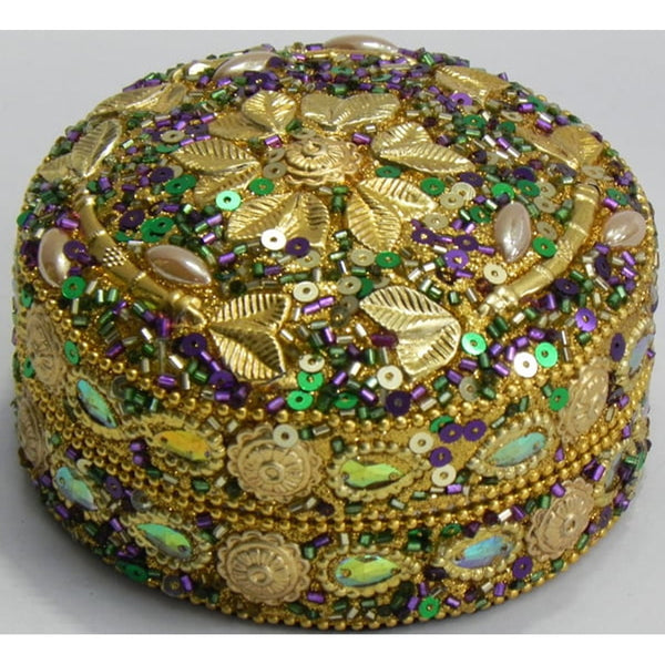 Gold Leaf Twig Round Box, Mardi Gras