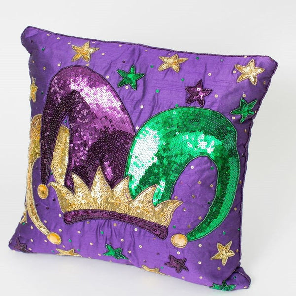 "14"" Square Jester's Crown Purple Pillow, Mardi Gras"