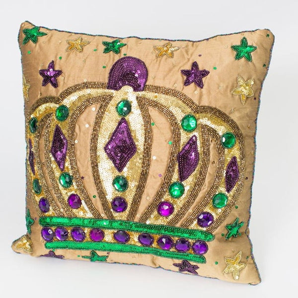 "14"" Square Crown Gold Pillow, Mardi Gras"