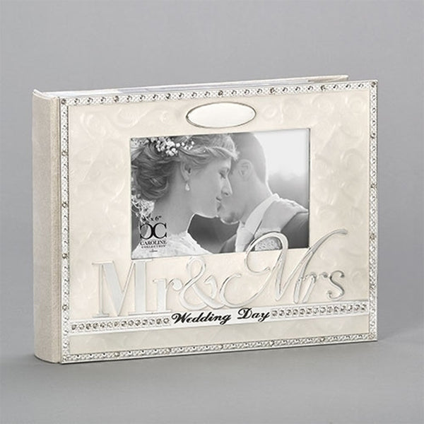 "Cream Enameled Wedding Album w/Rhinestones, ""Mr. & Mrs."" and ""Wedding Day"""