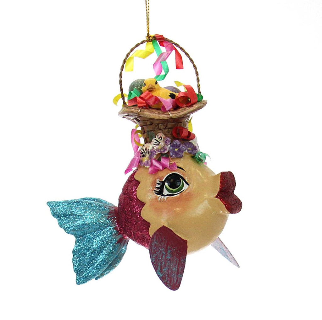 Easter Kissing Fish Ornament -  Blue