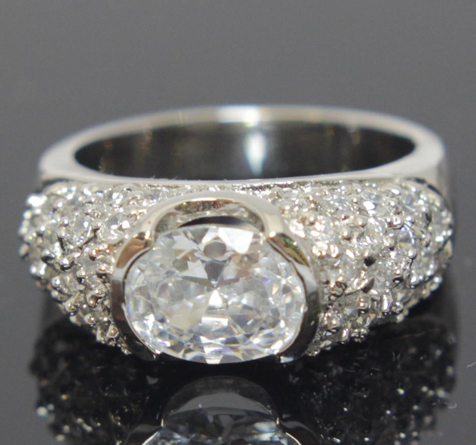 Sterling Silver Diamond Zirconia Ring Size 7