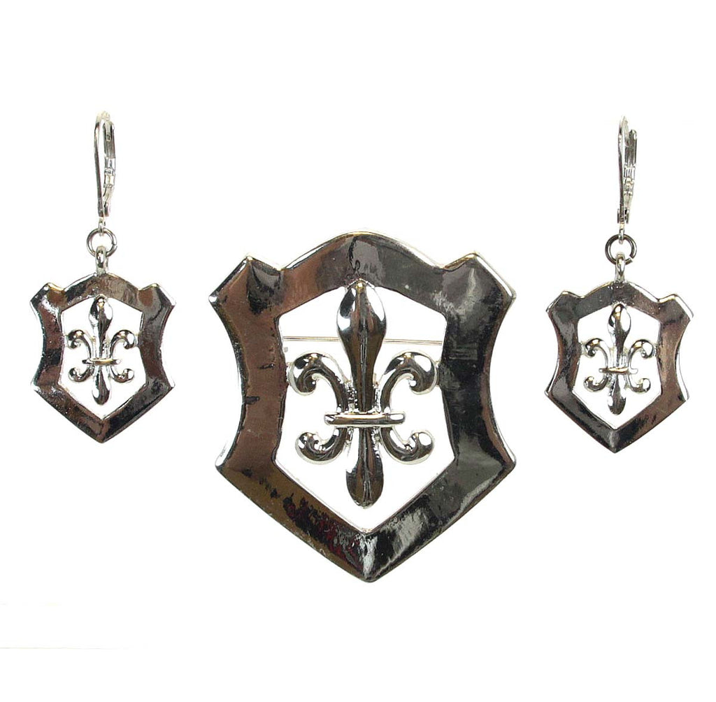 Fleur De Lis Pin/Pendant Earrings