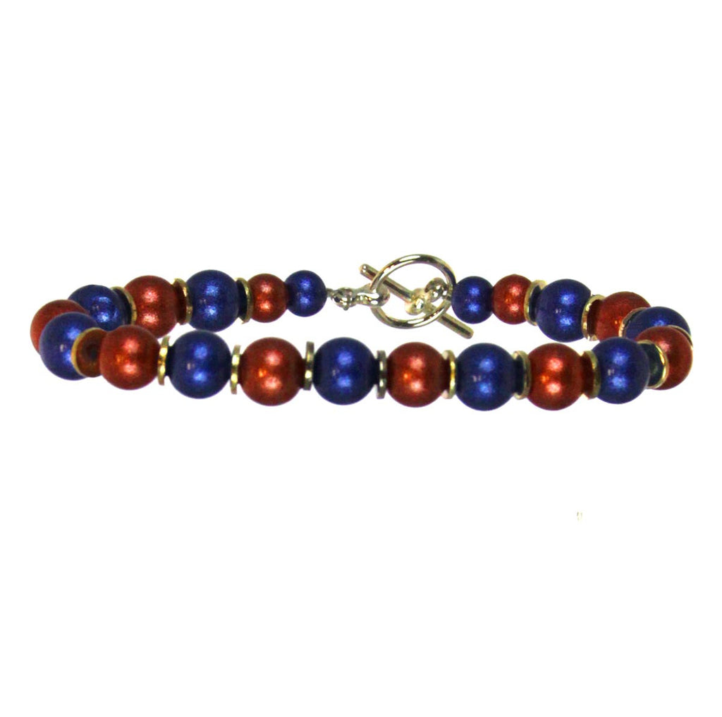 Bracelet Beaded Blue/Orange