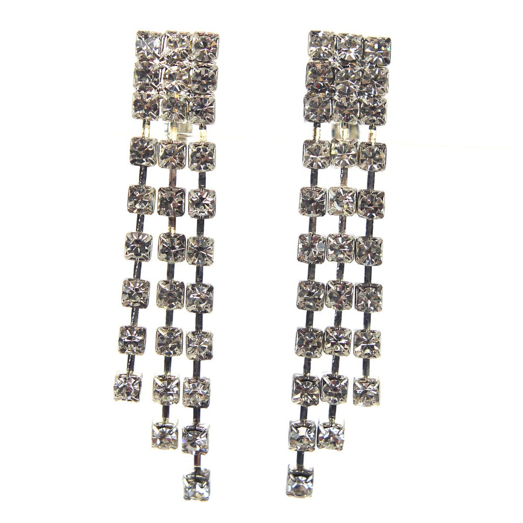 Rhinestone Long Clip Earrings
