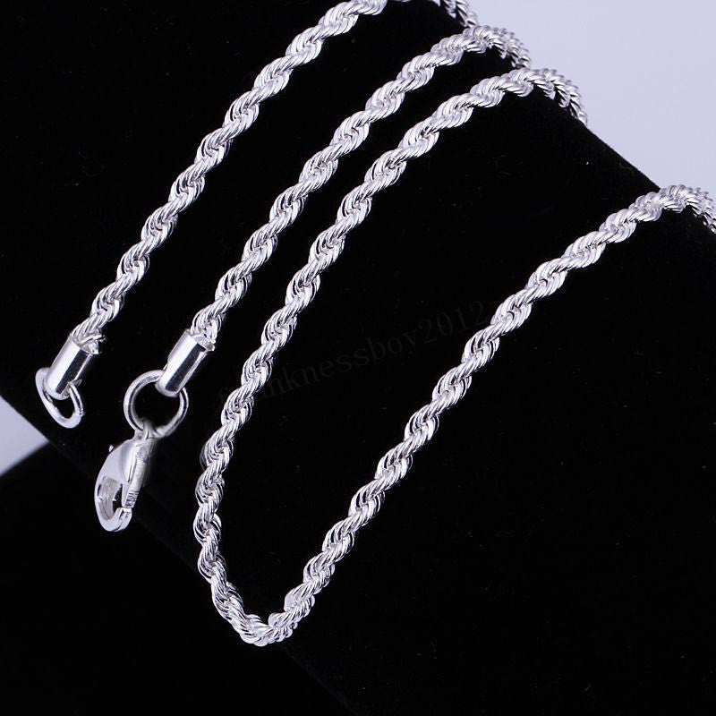 "Silver Plated Twisted Snake Chain 20""  2mm"