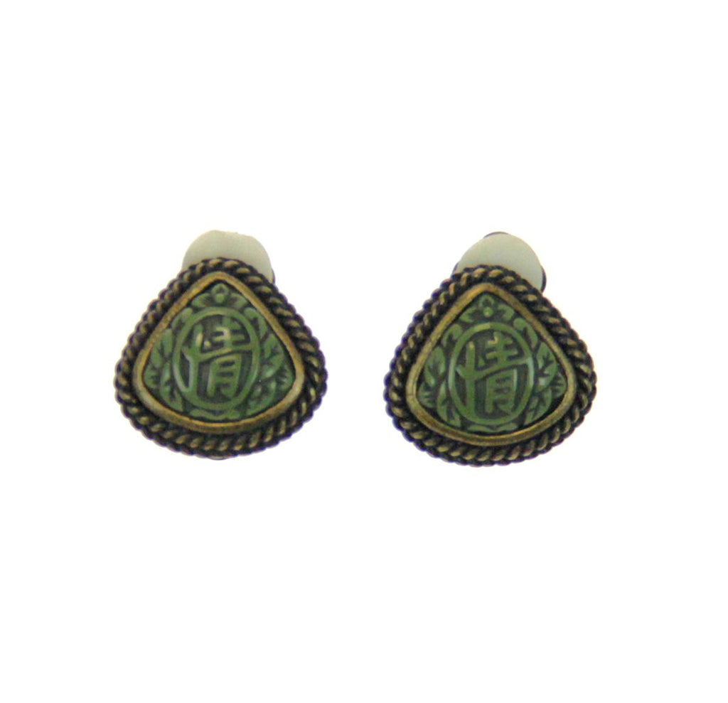 Antique Brass Clip Earrings