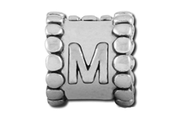 Alphabet Rhodium-M Bead