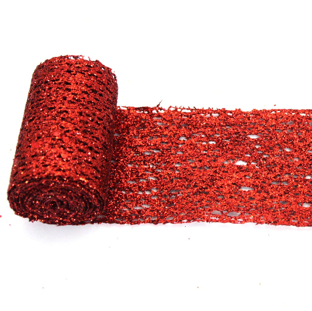 Glittered Ribbon Roll red