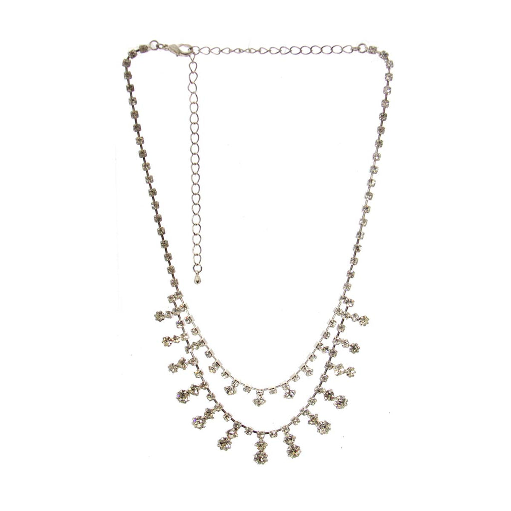 Rhinestone Necklace Silver tone