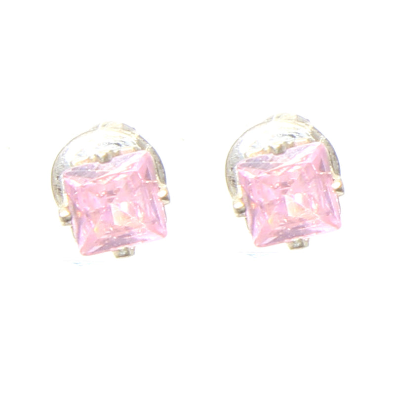 Earrings Square Stones, Pink