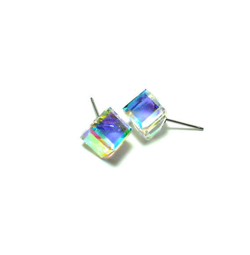 Cube Aurora Borealis Earrings