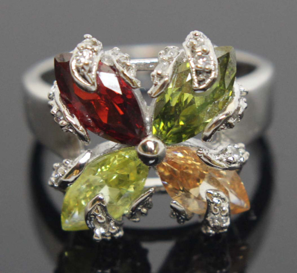 Sterling Silver Multi Colors Ring Size 7
