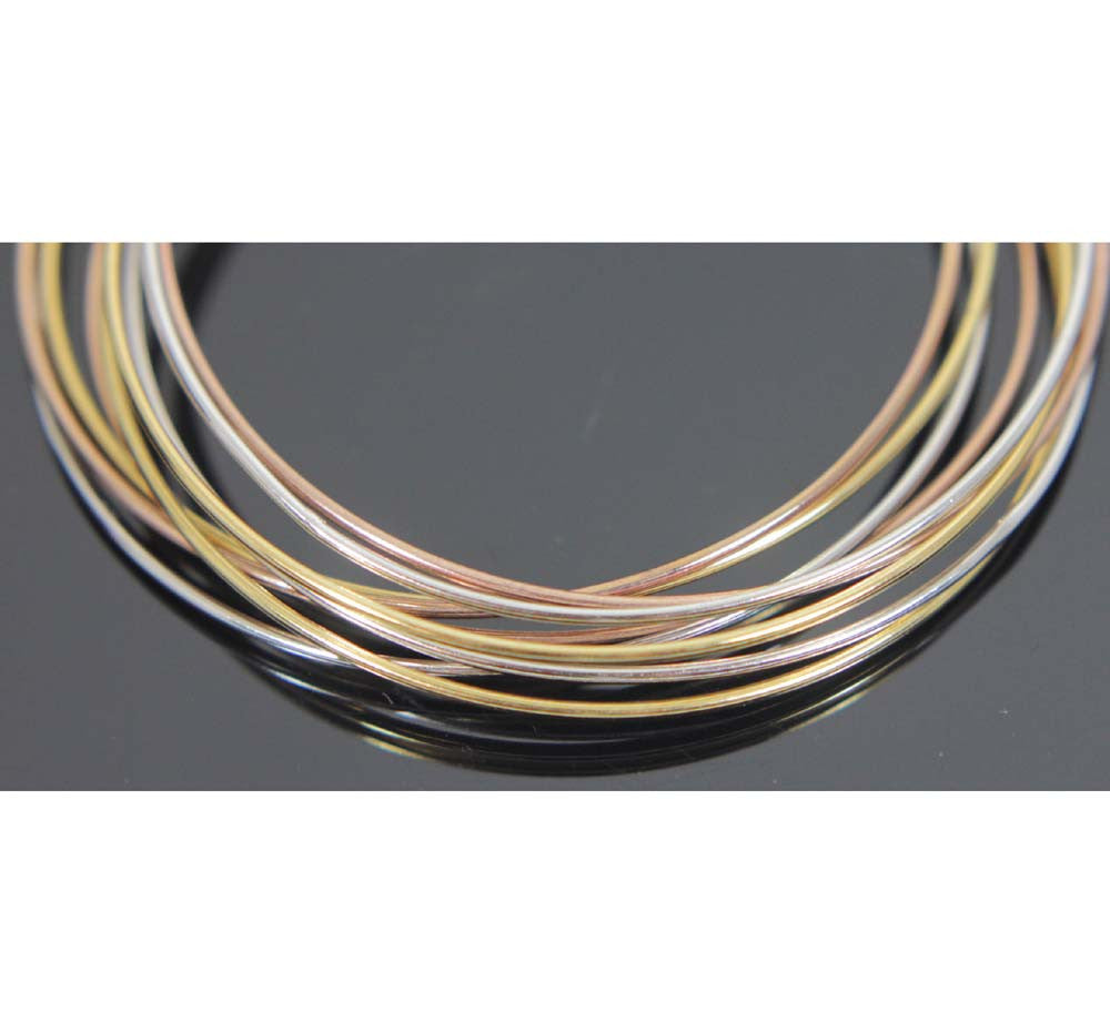 Sterling Silver Tri-color Bangles 2.5""