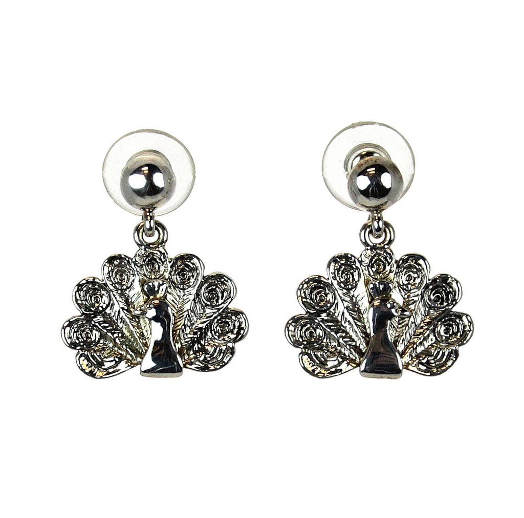 Peacock Earrings Silver post