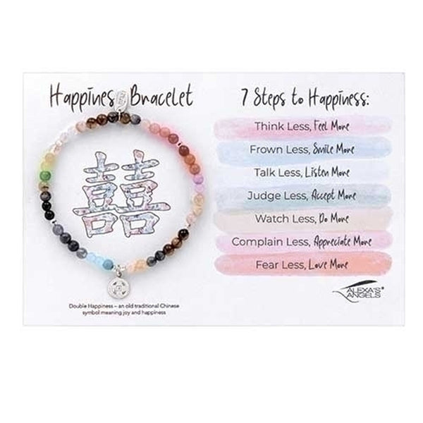 "7"" Happiness Bracelet, Sterling Silver & Natural Stones"