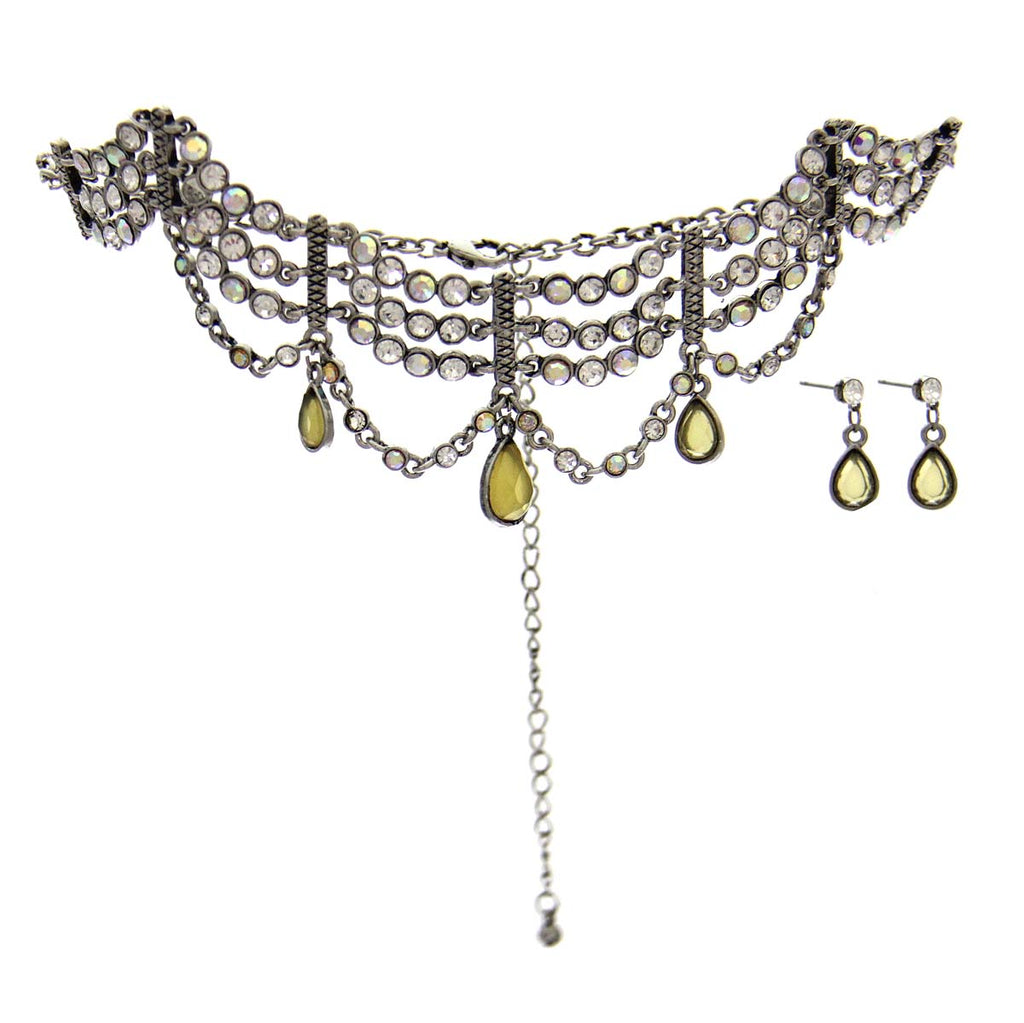 Rhinestone Necklace & Earrings