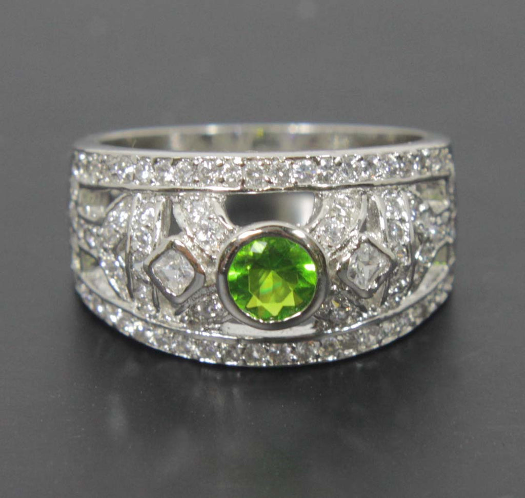 Sterling Silver Peridot CZ Ring Size 8.5