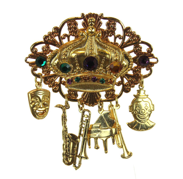 Crown Pin with Musical Charms & Crystals, Gold