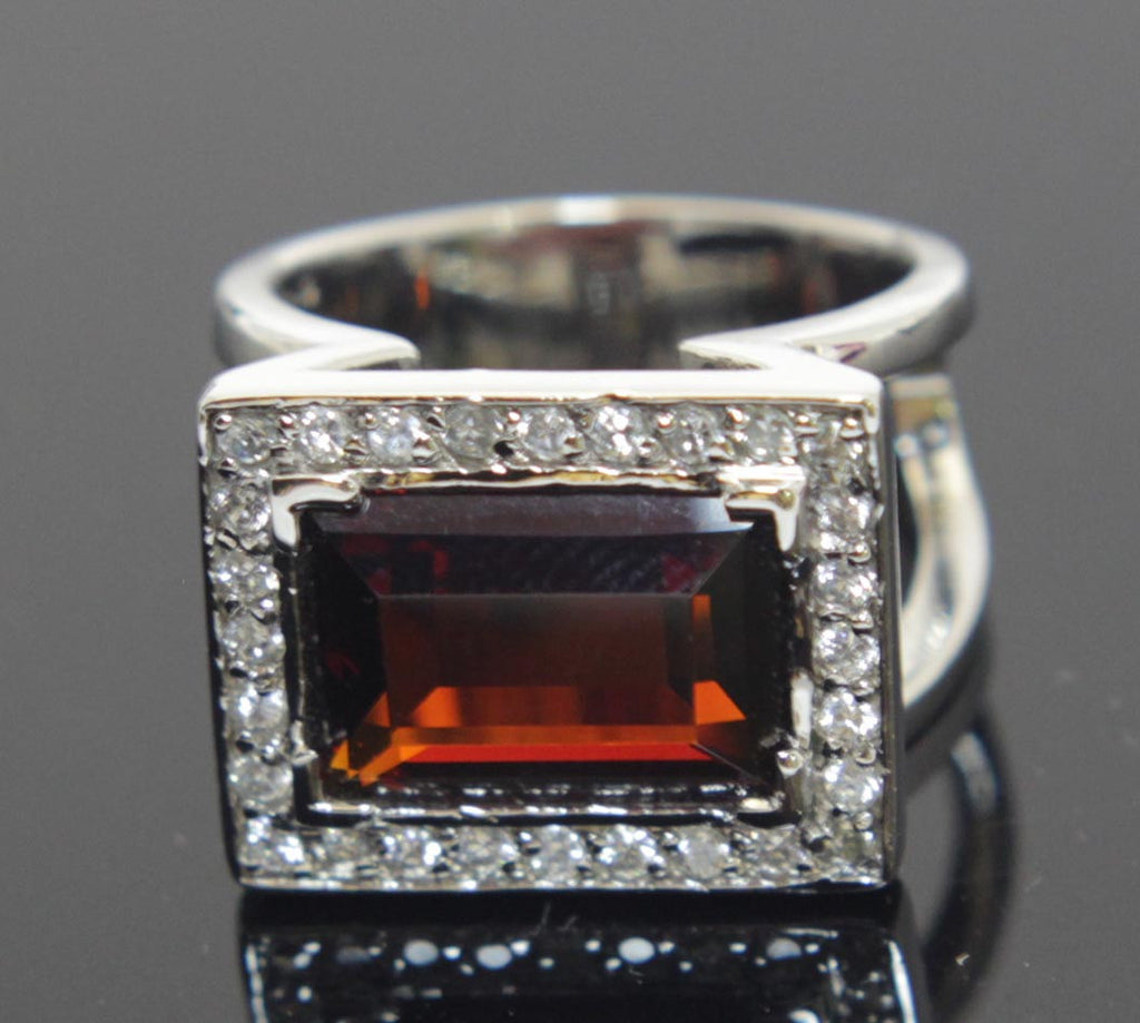 Sterling Silver Garnet Rectangle CZ Ring Size 8
