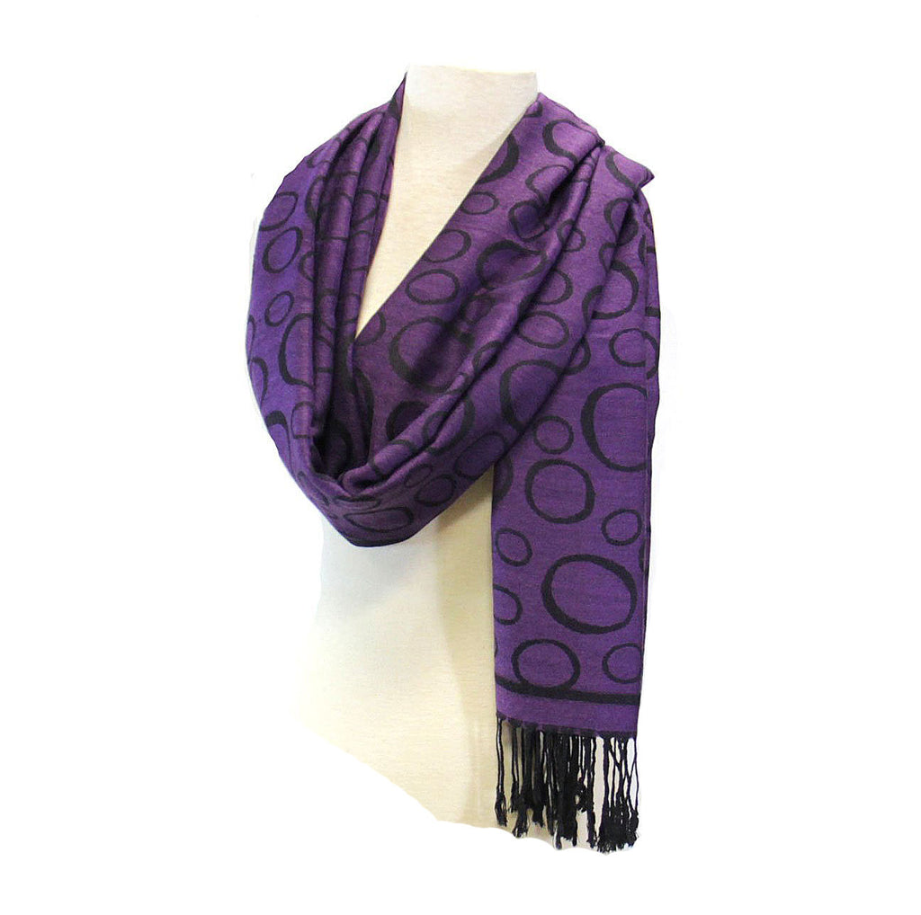 Pashmina Scarf Circles Purple/Black