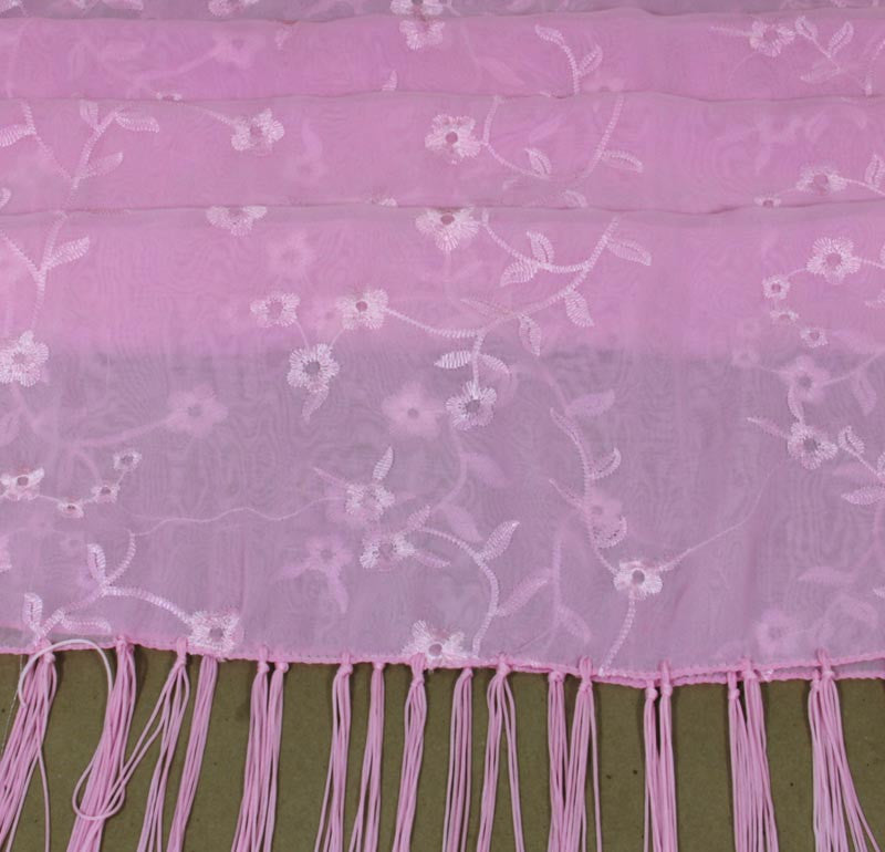 Embroidered Flower Design Scarf Pink