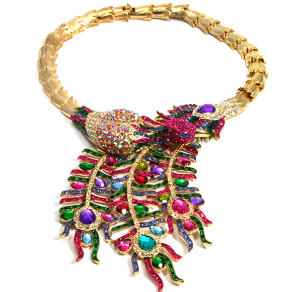 Peacock Necklace, Gold