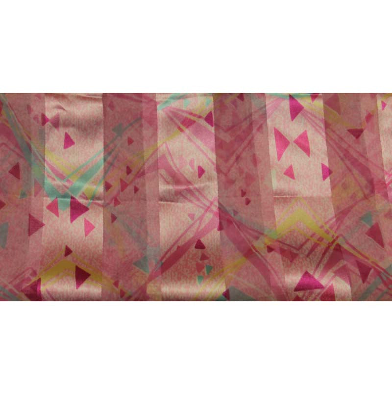"Long Scarf 60"" x 13"" Pink Triangles Design"