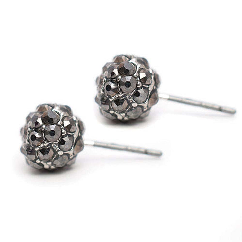 Pave Stud Earrings Silver Hematite