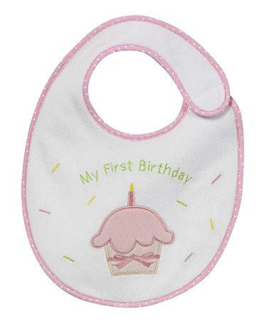 My First Birthday Bib - Girl Pink