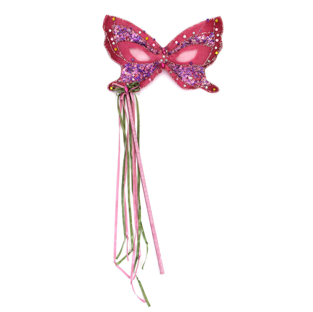 Butterfly Mask On Stick Fuchsia