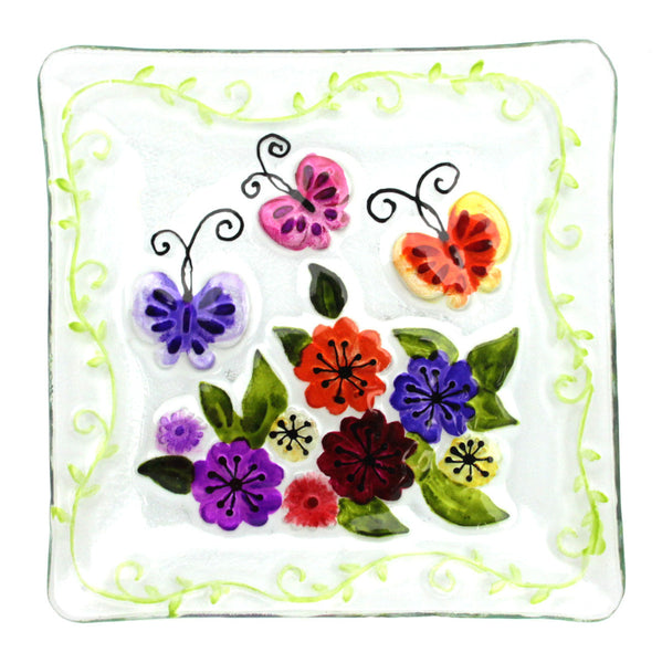 Butterfly & Flowers Glass Platter small