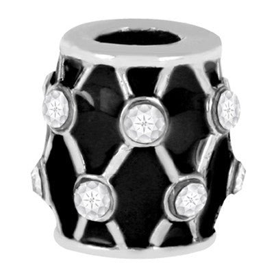 Black Drum LuTini Petite Black Glass Bead