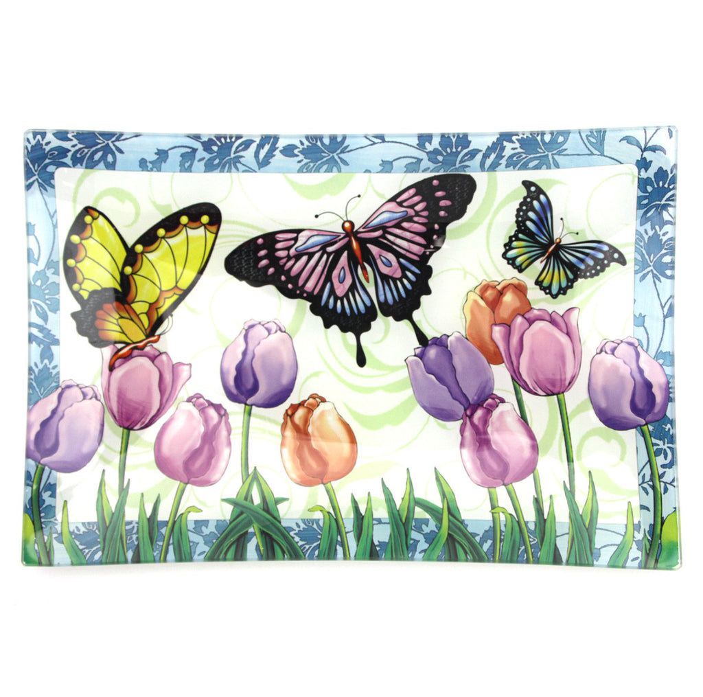 Butterfly & Tulips Glass Platter