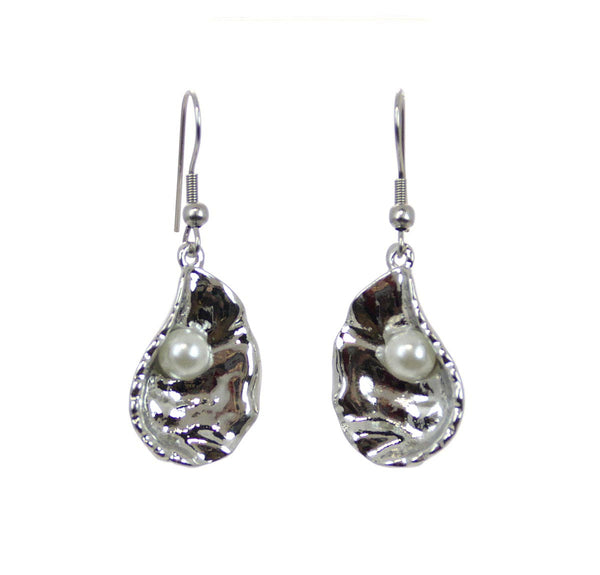 Open Oyster with Pearl Earrings