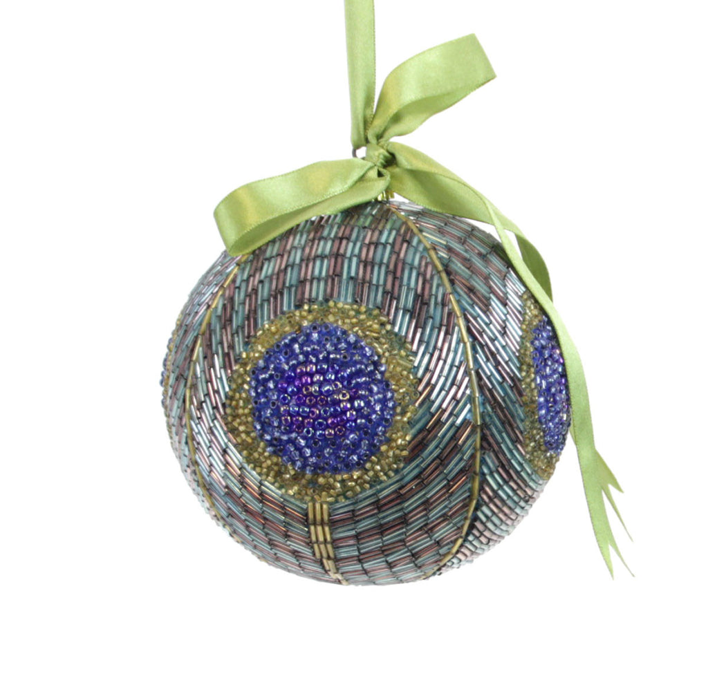 Peacock Bulb Ornament Beaded D3