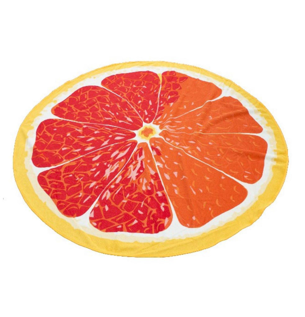Grapefruit Round Beach Towel