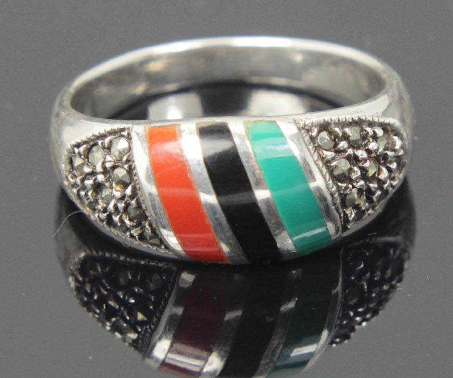 Sterling Silver Multi Color Cabochon Ring Size 8.5