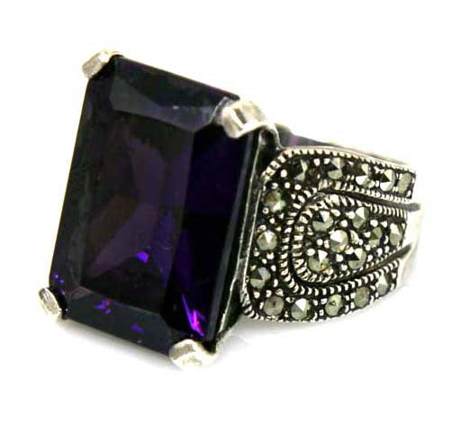 Sterling Silver Amethyst Marcasite Ring Size 8.5