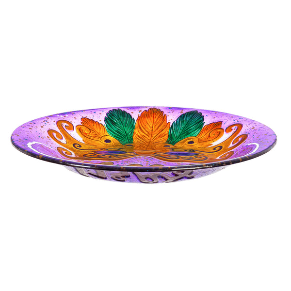 "18"" Hand Painted Embossed Glass Bird Bath Bowl, Mardi Gras Mask"