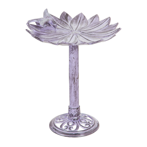 "16"" Metal Purple Floral Bird Bath with Perched Bird"